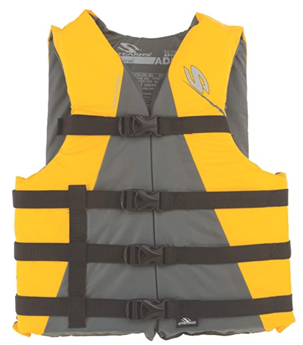 The Stearns Adult Classic Life Jacket in yellow.
