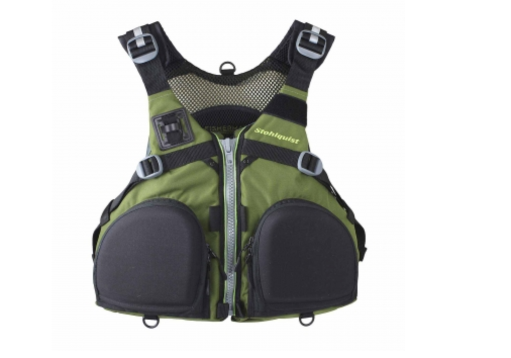 The Stohlquist Fisherman personal flotation device in green.