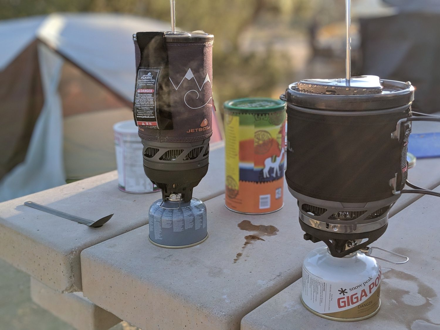 The Jetboil Flash (left) and MiniMo (right) in coffee mode.   Photo courtesy Liz Thomas.