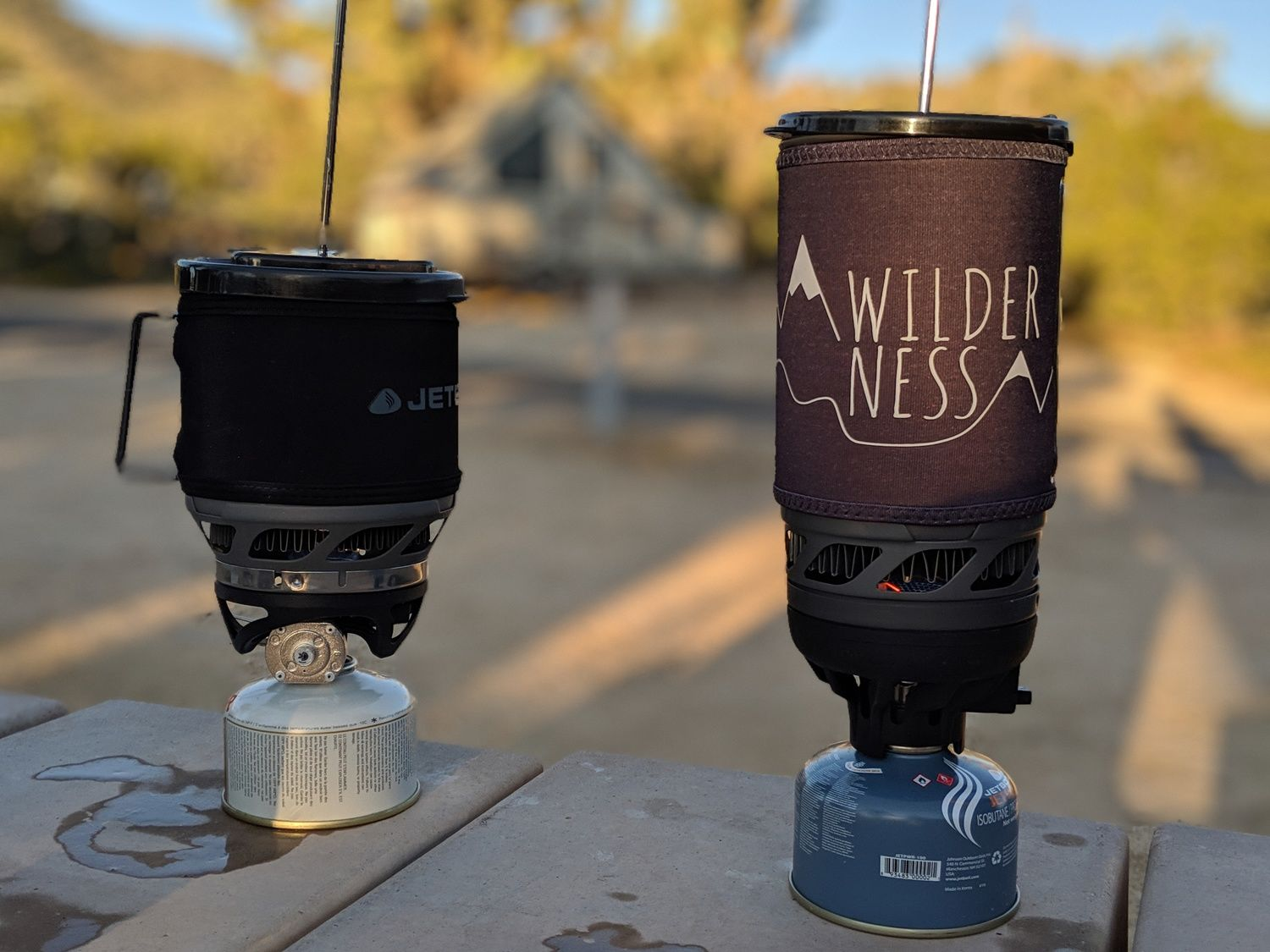 The MiniMo and Flash in French press mode at a campground in Joshua Tree National Park.   Photo by Liz Thomas.