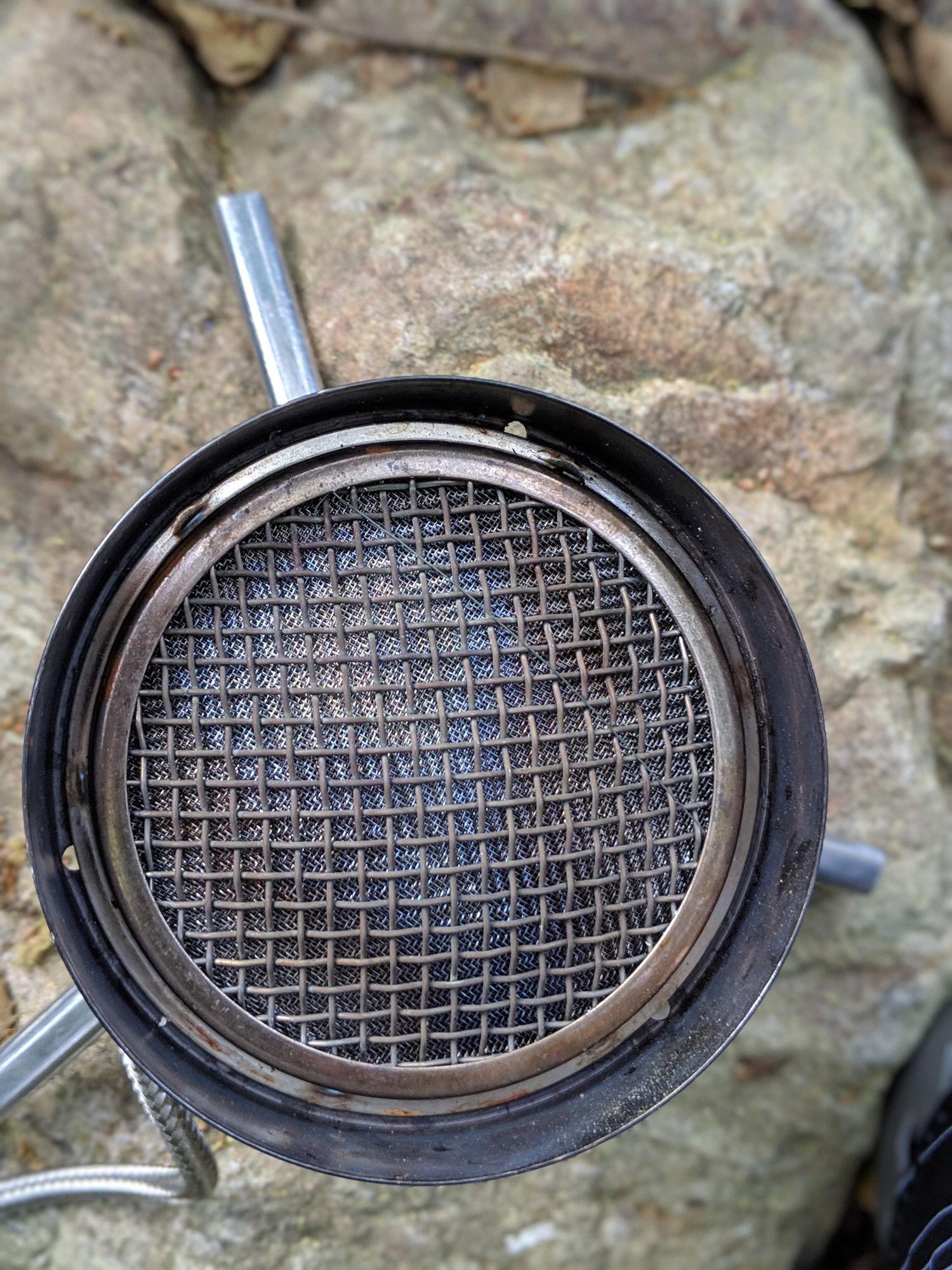 Close-up of the robust burner on the WindBurner.   Photo courtesy Liz Thomas.
