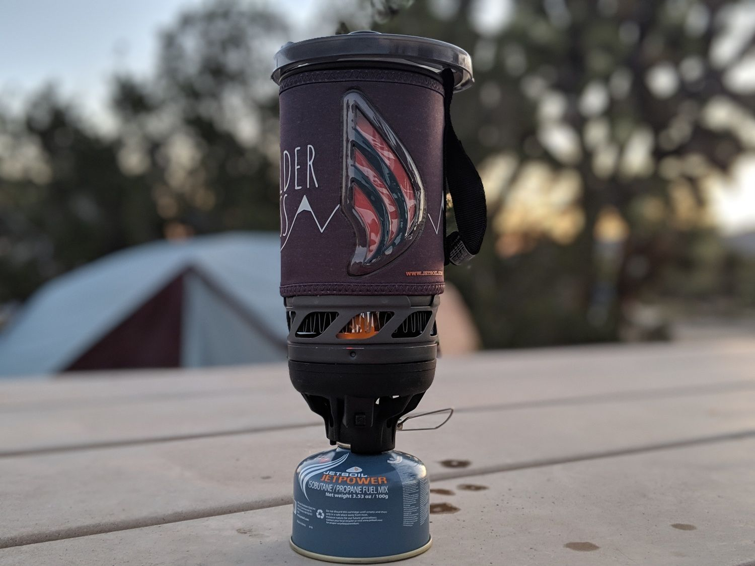 We like that the Jetboil Flash glows red to alert you that the water is boiling. Photo taken at a campground in Joshua Tree National Park.   Photo courtesy Liz Thomas.