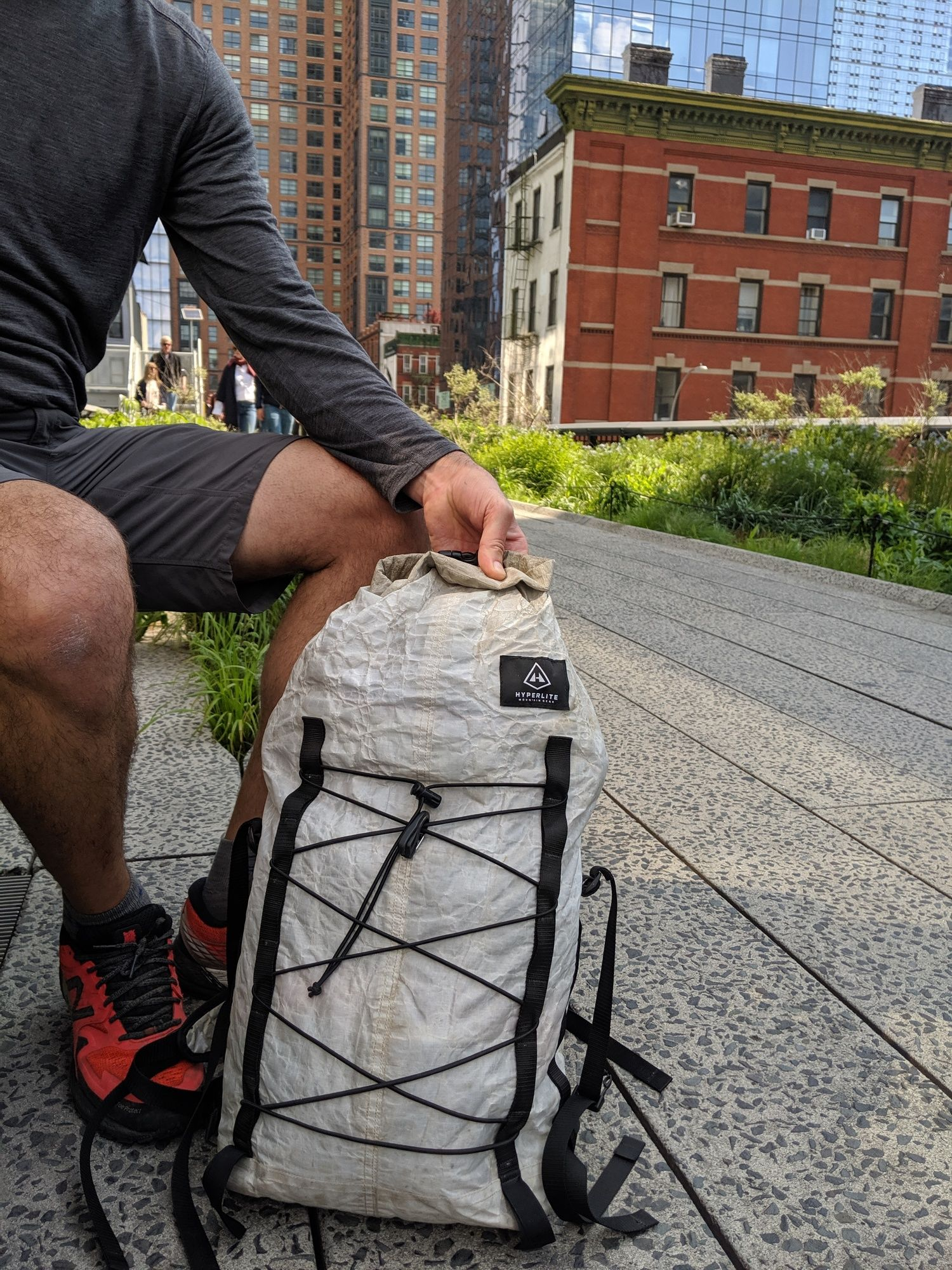 The   Hyperlite Mountain Gear Summit pack   on the Highline Park in New York City.