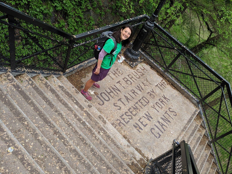 Liz Thomas on the John T Brush Stairway in New York City.
