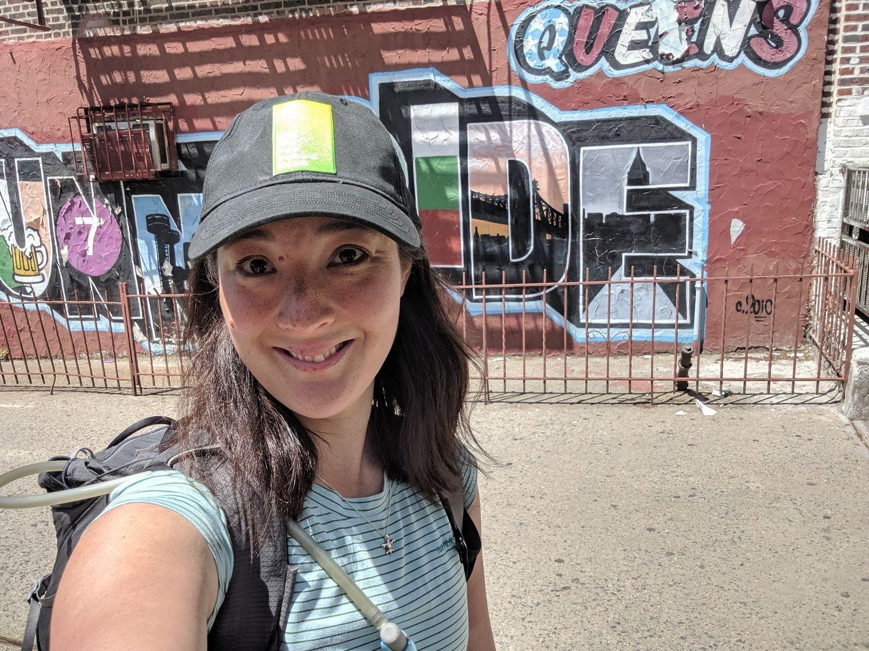 Liz Thomas wearing the Merrell Paradox short sleeve tech t-shirt in Queens.