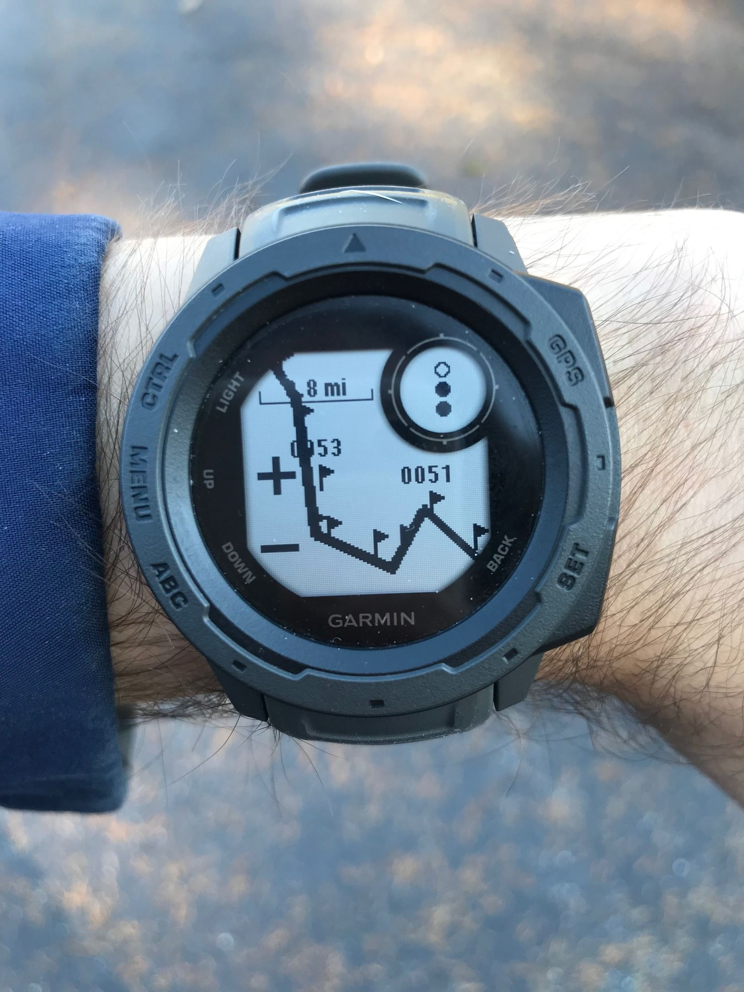 The Garmin Instinct GPS watch can track data and stats on day hikes, workouts, and even long distance hikes…or so we are testing! Here the watch shows the climb out of the Grand Canyon. Photo courtesy Mike Unger.