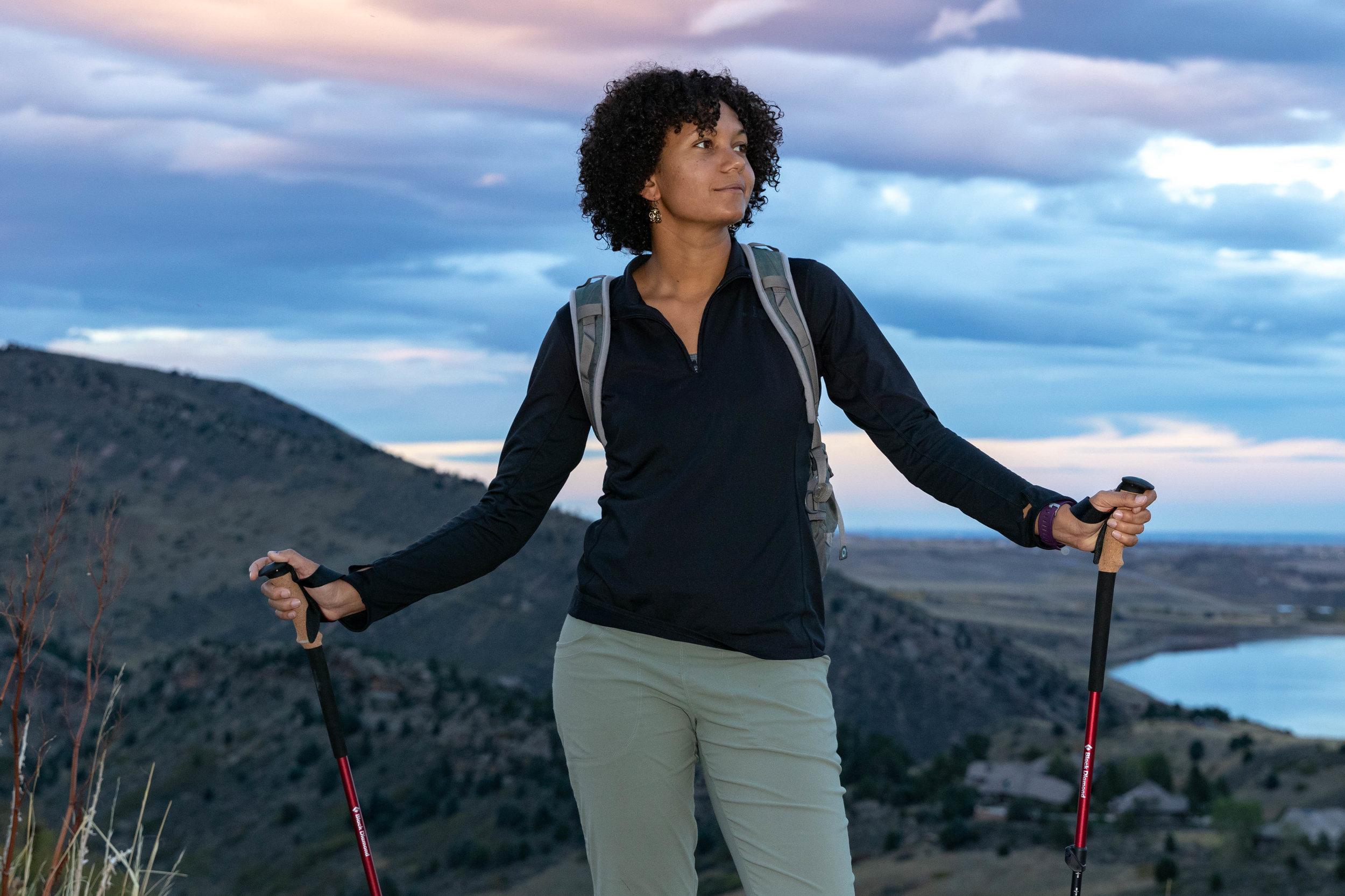 Writer Amanda Jameson testing the Black Diamond Trail Ergo trekking poles in Colorado.  Photo by John Carr.
