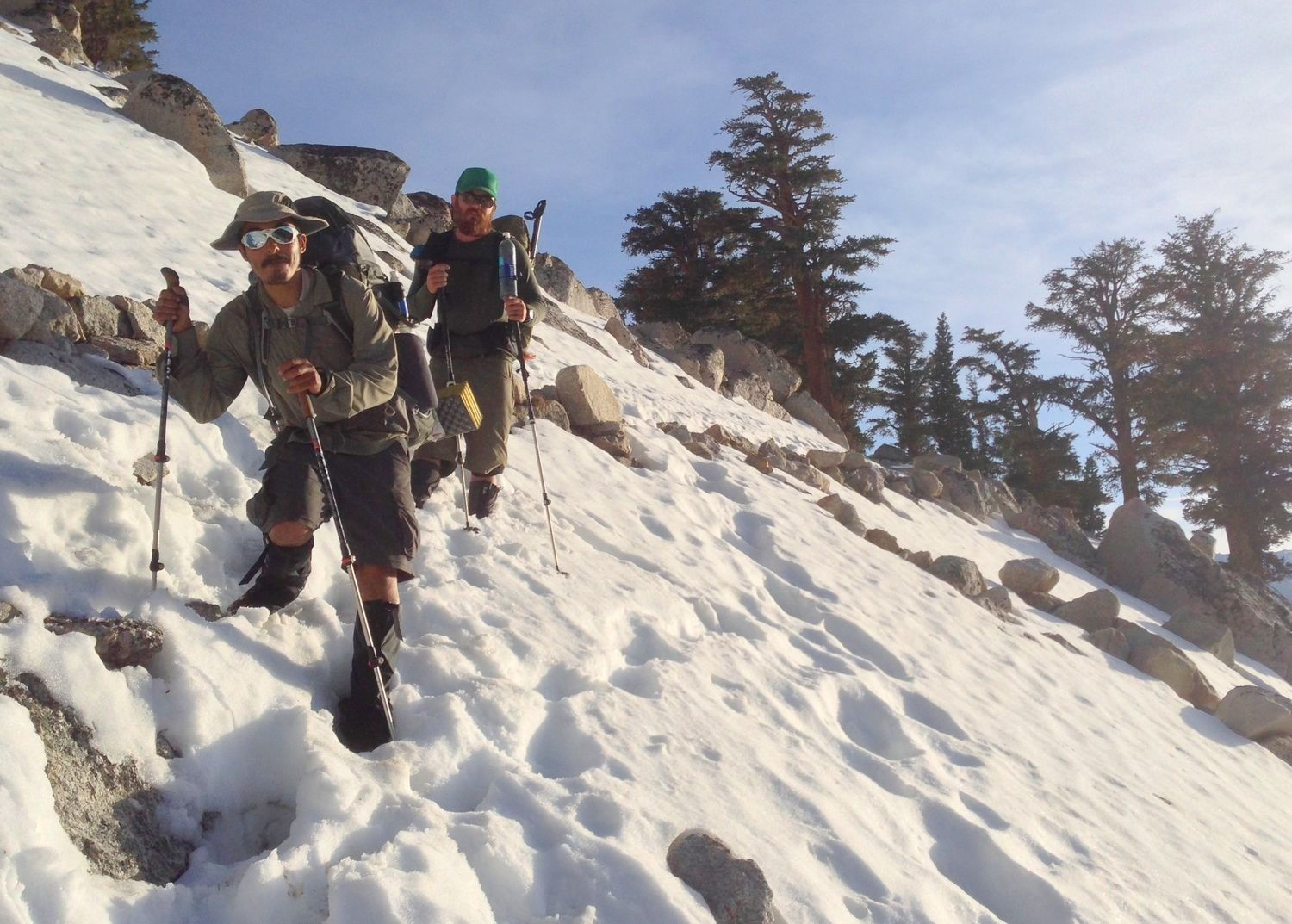Two hikers using trekking poles in a snowscape.