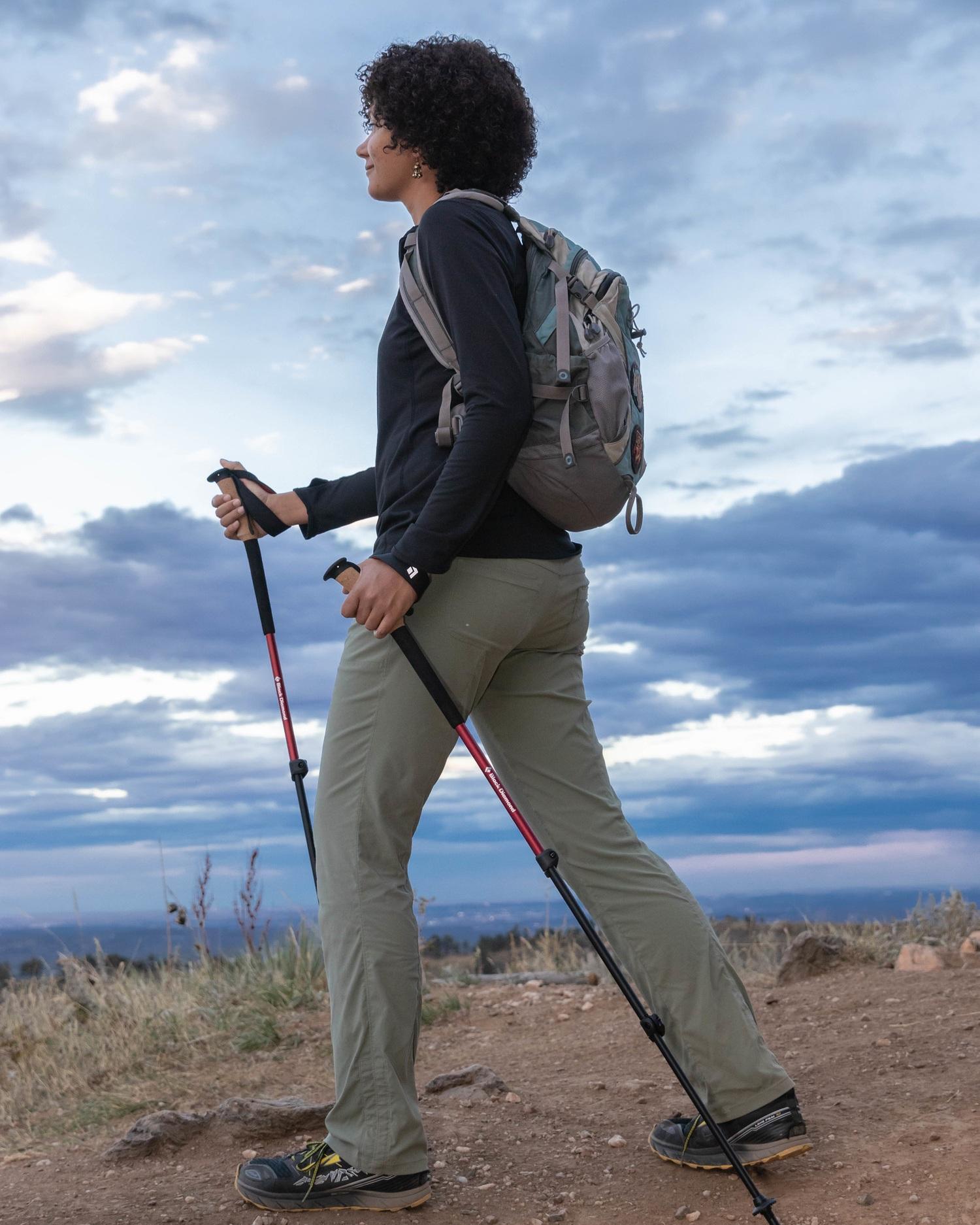 Writer Amanda Jameson using the Black Diamond Trail Ergo Cork hiking poles .  Photo by John Carr.