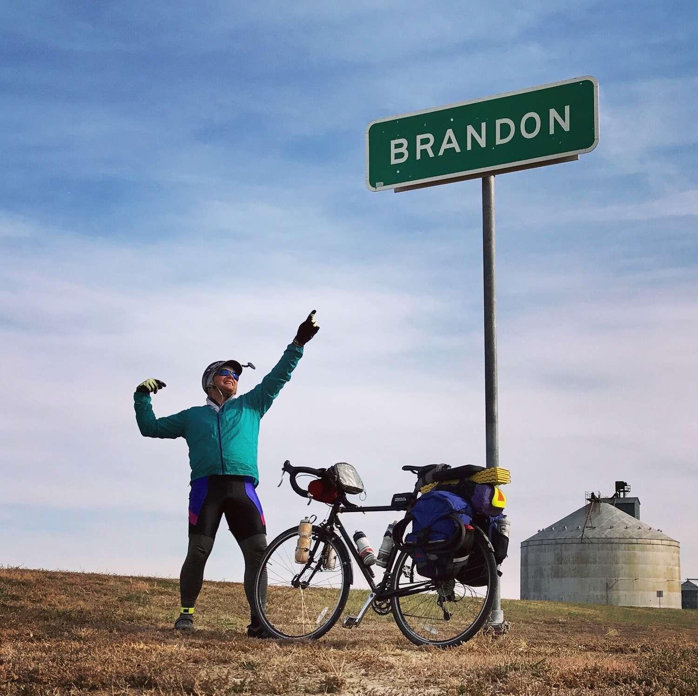 Brandon passes through the town of Brandon on his bike tour.   Photo courtesy Brandon Lampley.