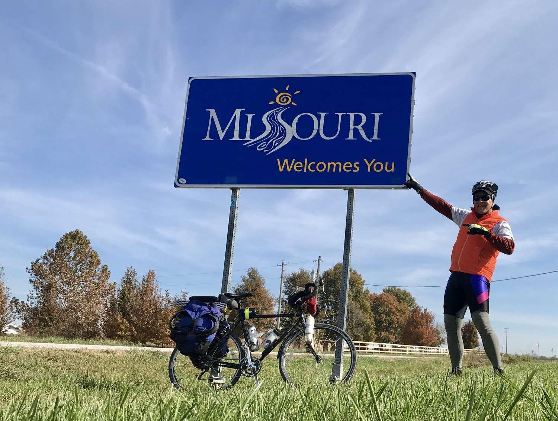 Brandon Lampley reaches the Missouri border.   Photo courtesy Brandon Lampley.