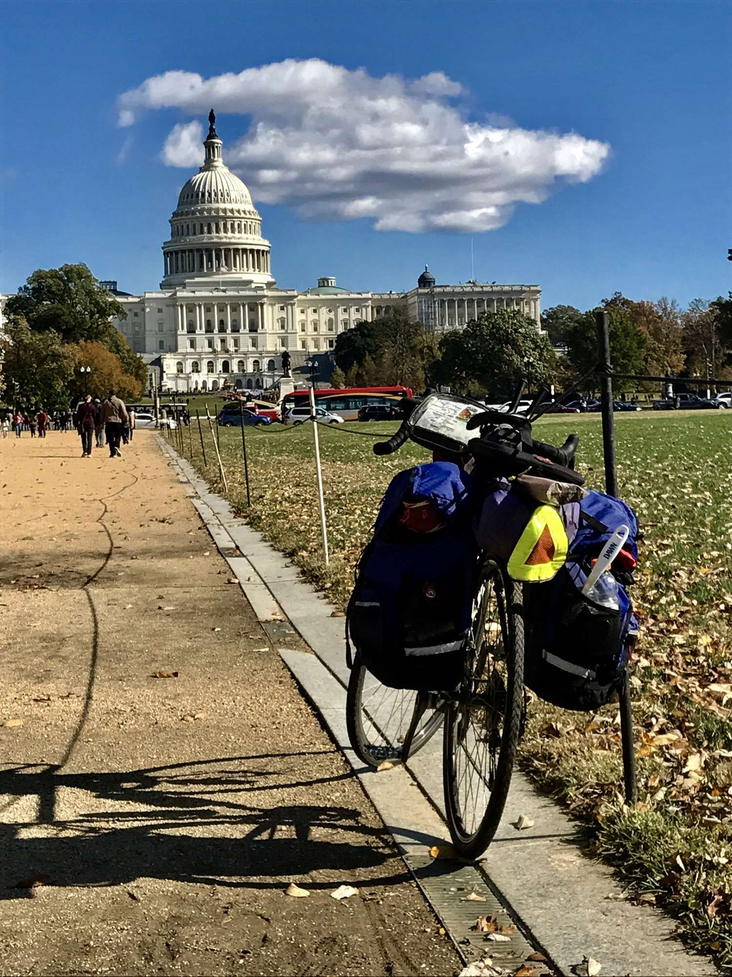 Bike touring past our nation's capitol.   Photo courtesy Brandon Lampley