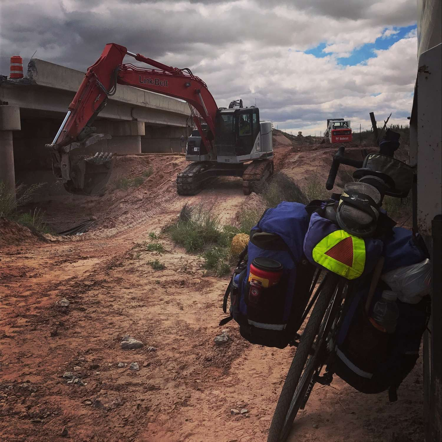 Bike touring may take you places you wouldn't otherwise visit in a car where visibility is even more important, like this construction zone.   Photo courtesy Brandon Lampley.