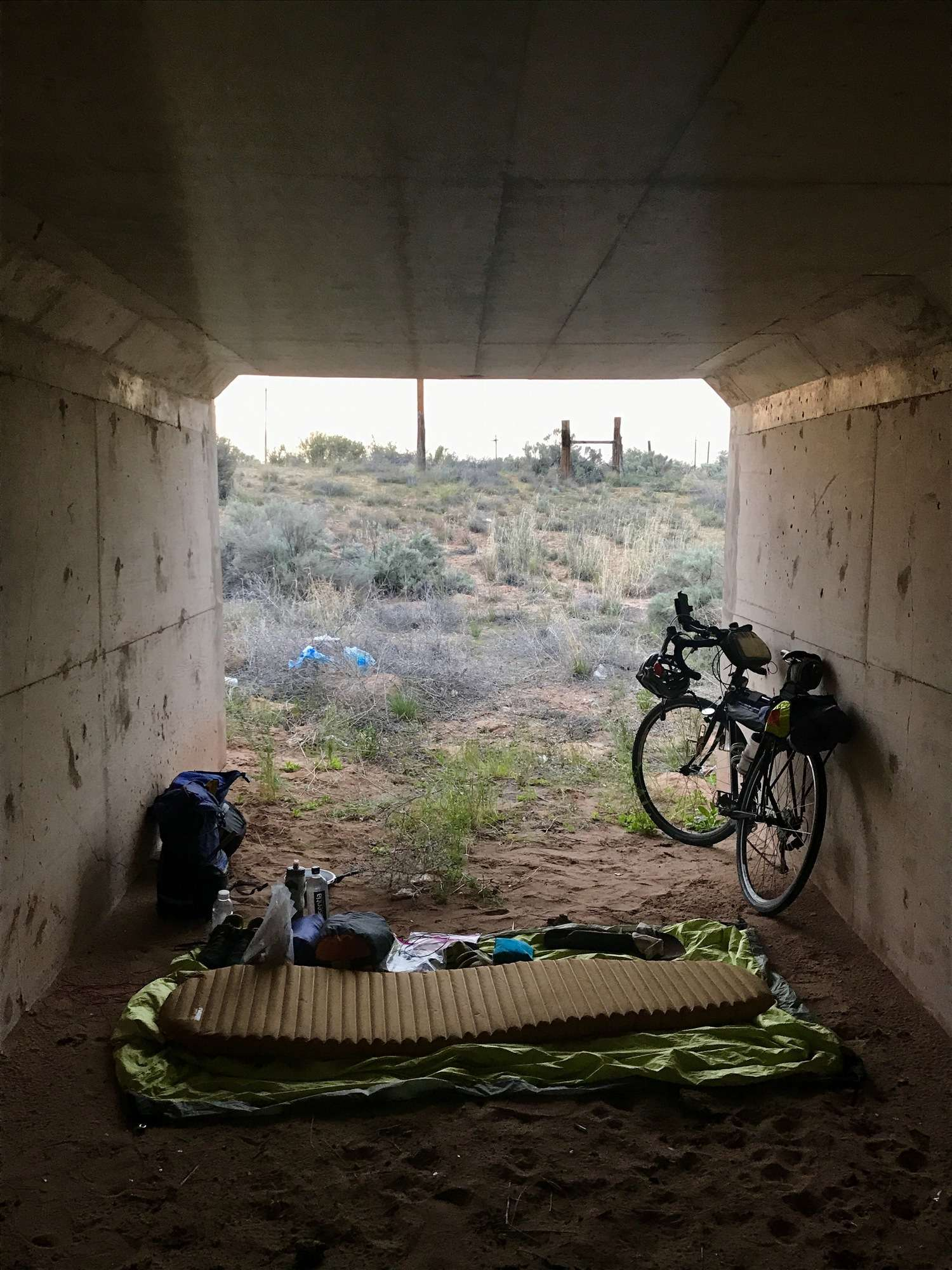 Sometimes when you're on a long bike trip, you may find non-traditional campsites.   Photo courtesy Brandon Lampley.