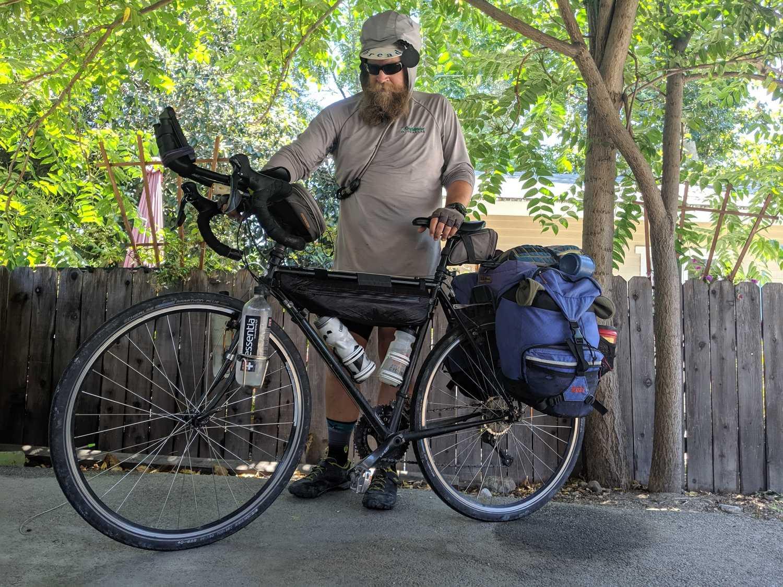 The Prana Caldera Sunshirt is part of Brandon's biking uniform.   Photo by Liz Thomas.