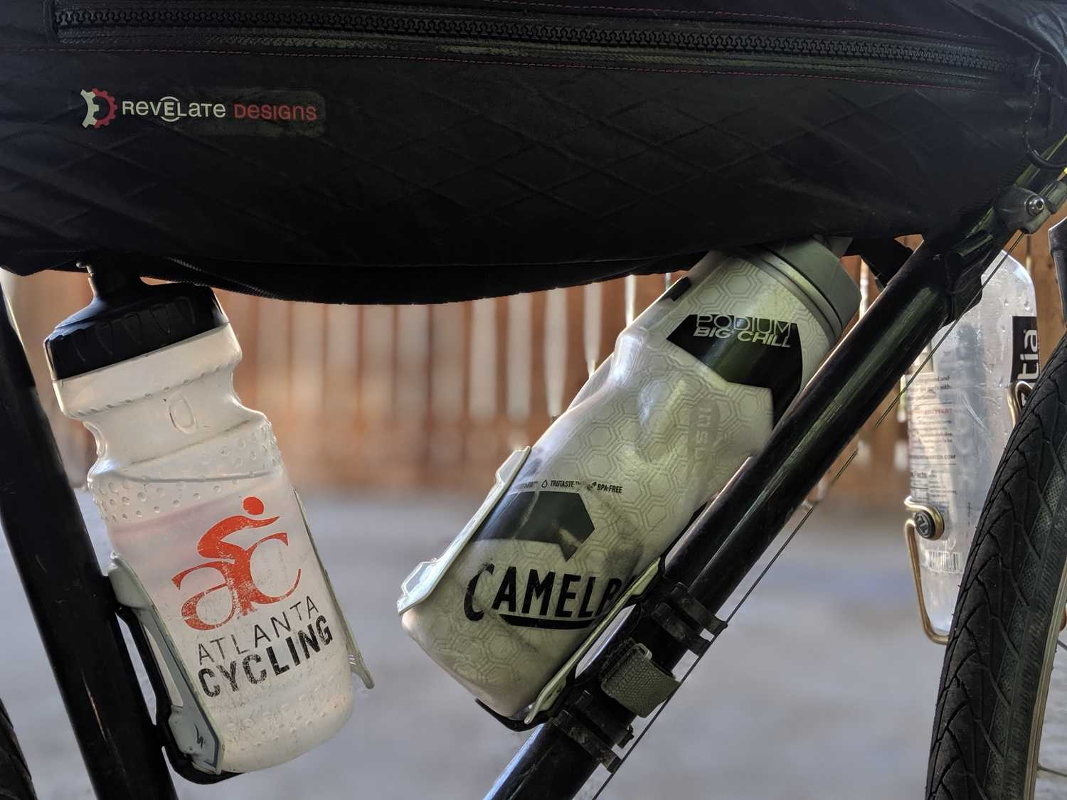 Frame bag and bike cages along with insulated water bottles.   Photo courtesy Brandon Lampley.