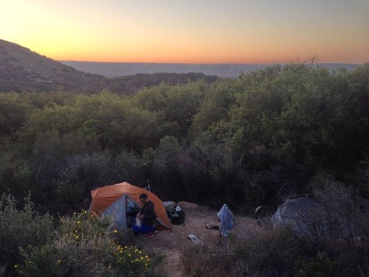 The Big Agnes tent in a desert stealth camp on the Pacific Crest Trail.   Photo by John Carr