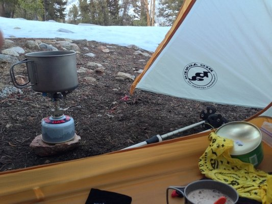 The view from inside the BIg Agnes Fly Creek HV UL 2 tent, looking out the single door.