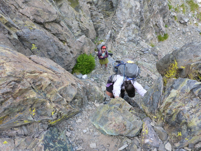 Tough cameras can survive falls while scrambling. This photo was taken on a 3rd class rock climbing scramble in the Sierra on the Panasonic Lumix .  Photo by Whitney LaRuffa