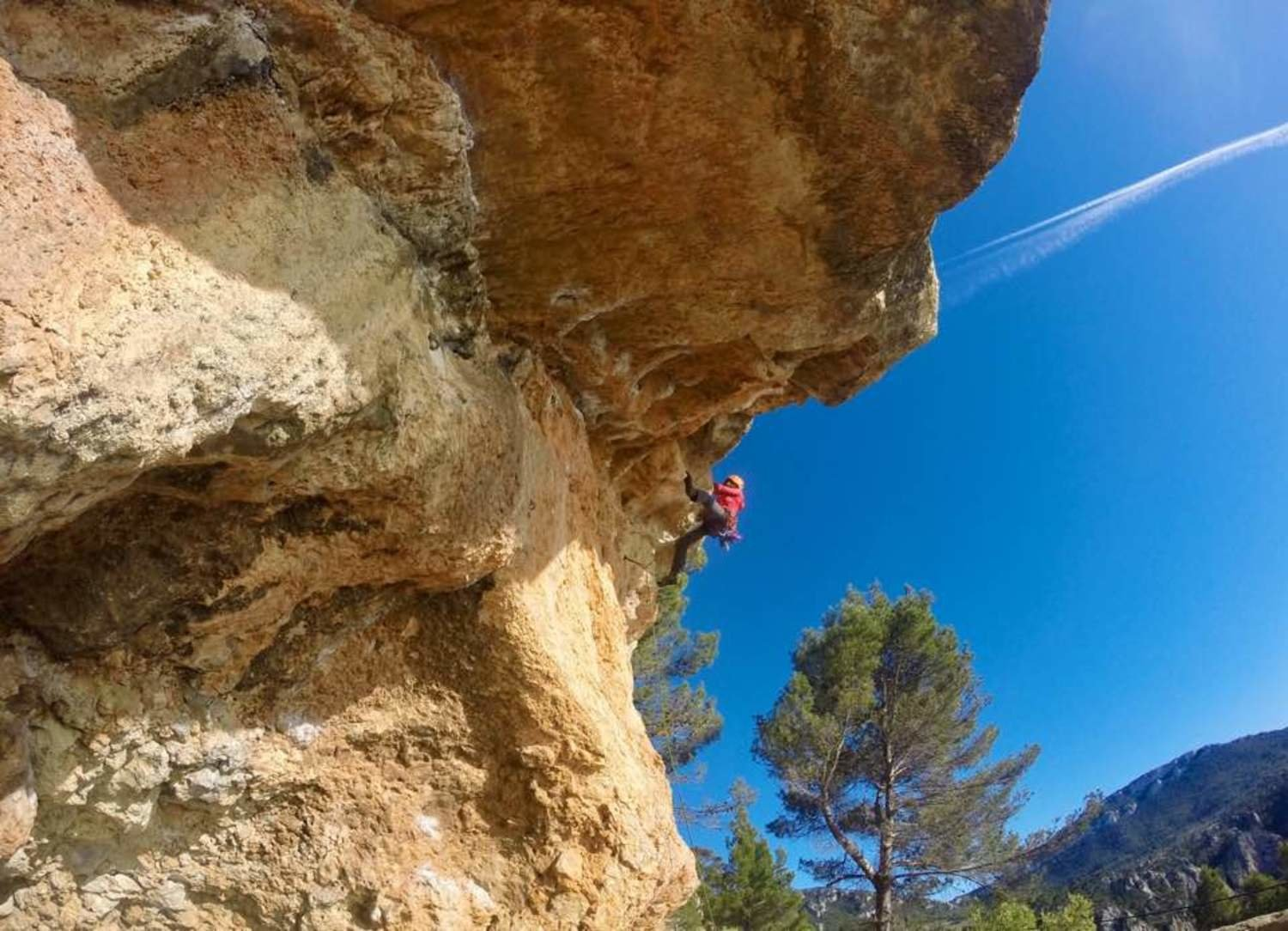 The author climbing in Mallorca, Spain. Photo courtesy Grace Anderson