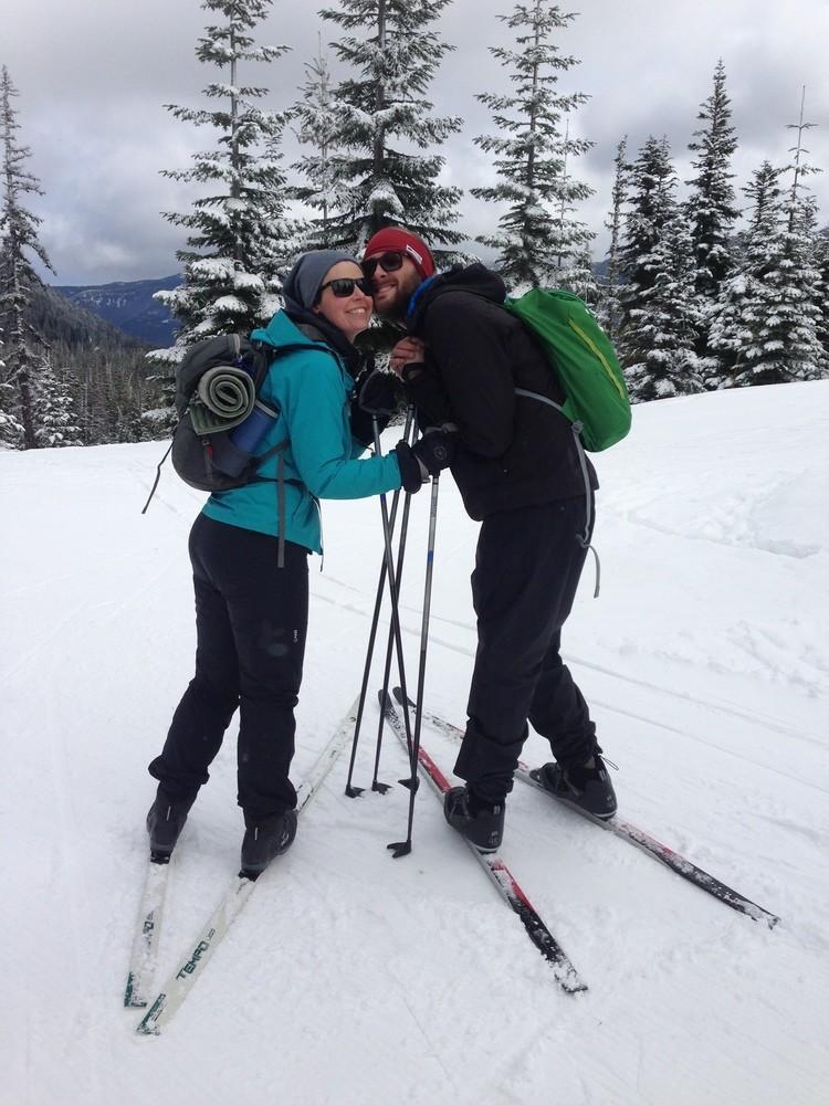 Tiffany Searsdodd (on left) takes the Marmot Minimalist on skis.   Photo courtesy Tiffany Searsdodd.