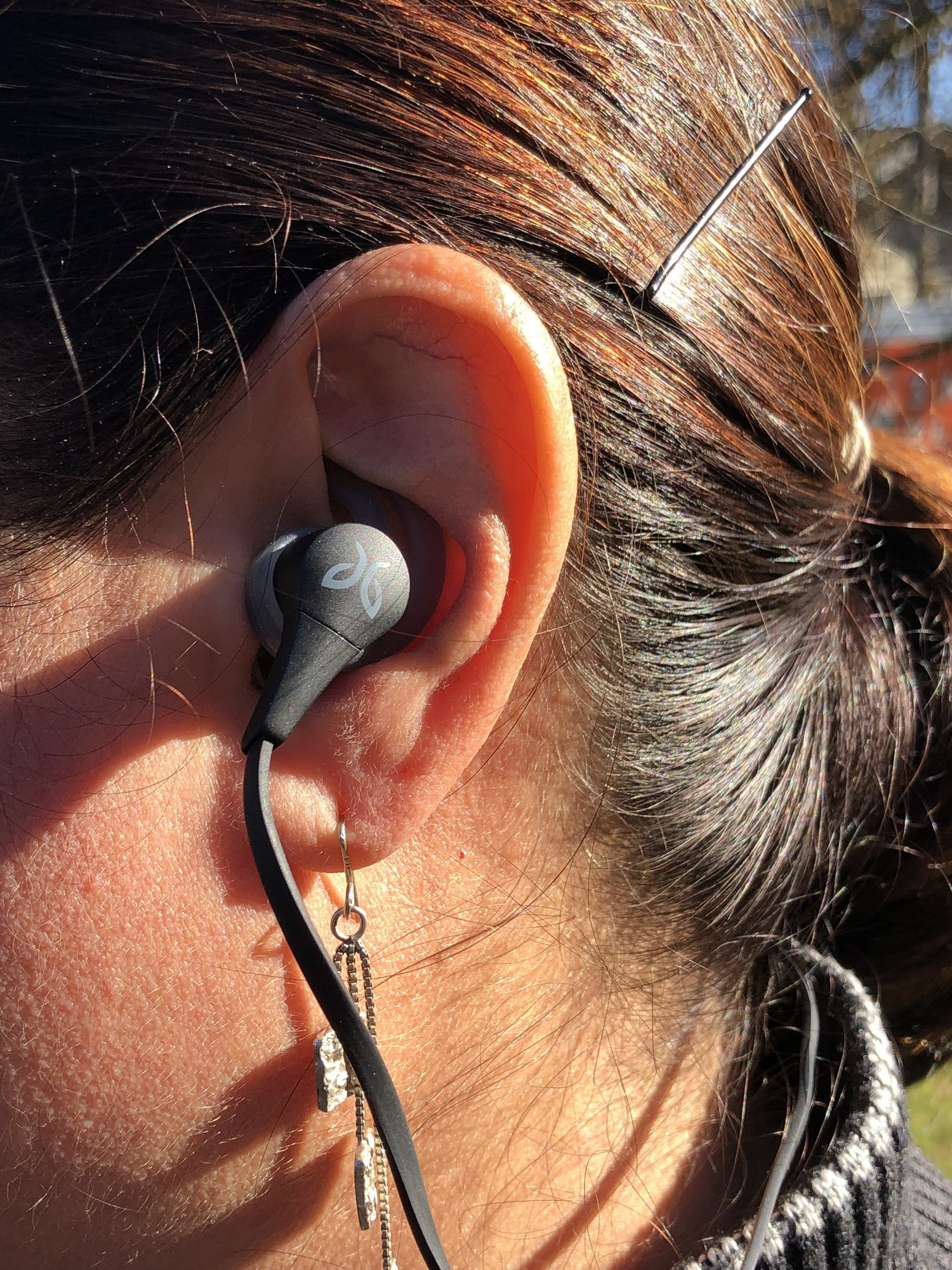 The Jaybird X4 fits snugly in the ear.   Photo by Shayne Combs.