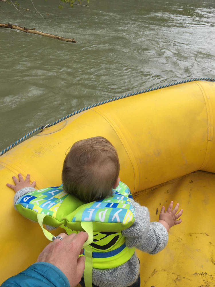 An infant or child wearing a life jacket or PFD still requires adult supervision.   Photo courtesy Seamus Daniels.