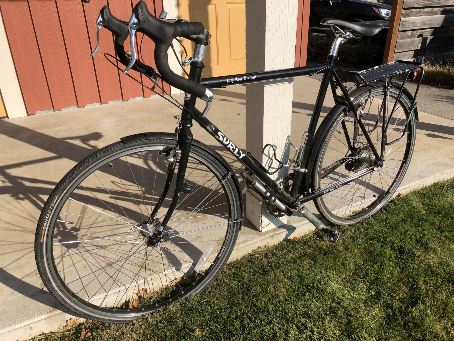The Surly Long Haul Trucker touring bike, shown here in black.