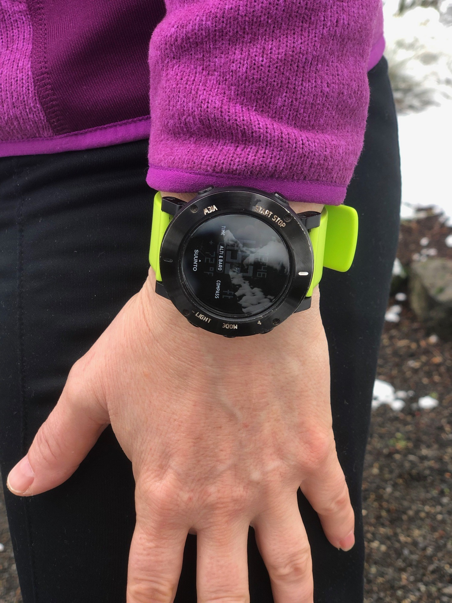 Suunto Core in the snow.   Photo by Mike Unger.