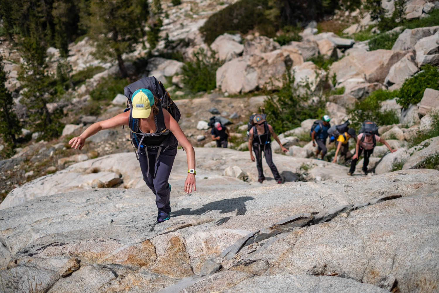 Some trails in Yosemite can be steep and rocky and involve walking on granite slabs, which requires good footwear.   Photo by Duncan Cheung.