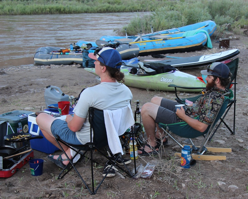 Camp chairs are a much better alternative to sitting in river mud after a long day on the water.   Photo courtesy Josette Deschambeault.