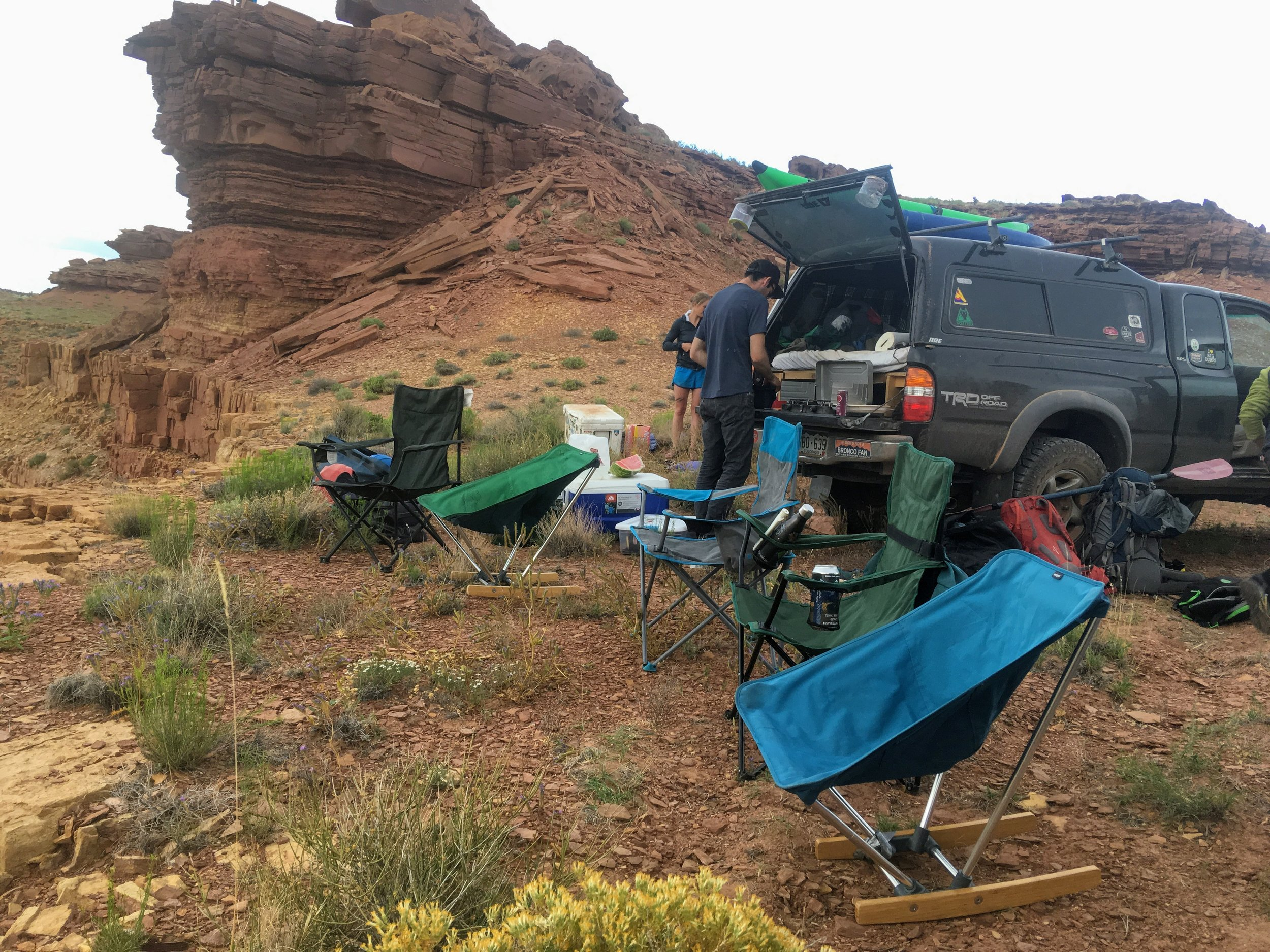 Side-by-side comparison of camp chairs right out of the back of the truck.   Photo courtesy Josette Deschambeault