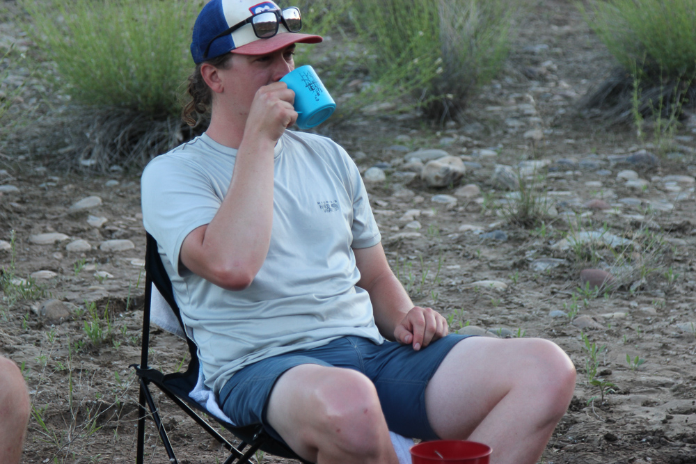 Testing a camp chair in the desert after a long day on the water .  Photo courtesy author.
