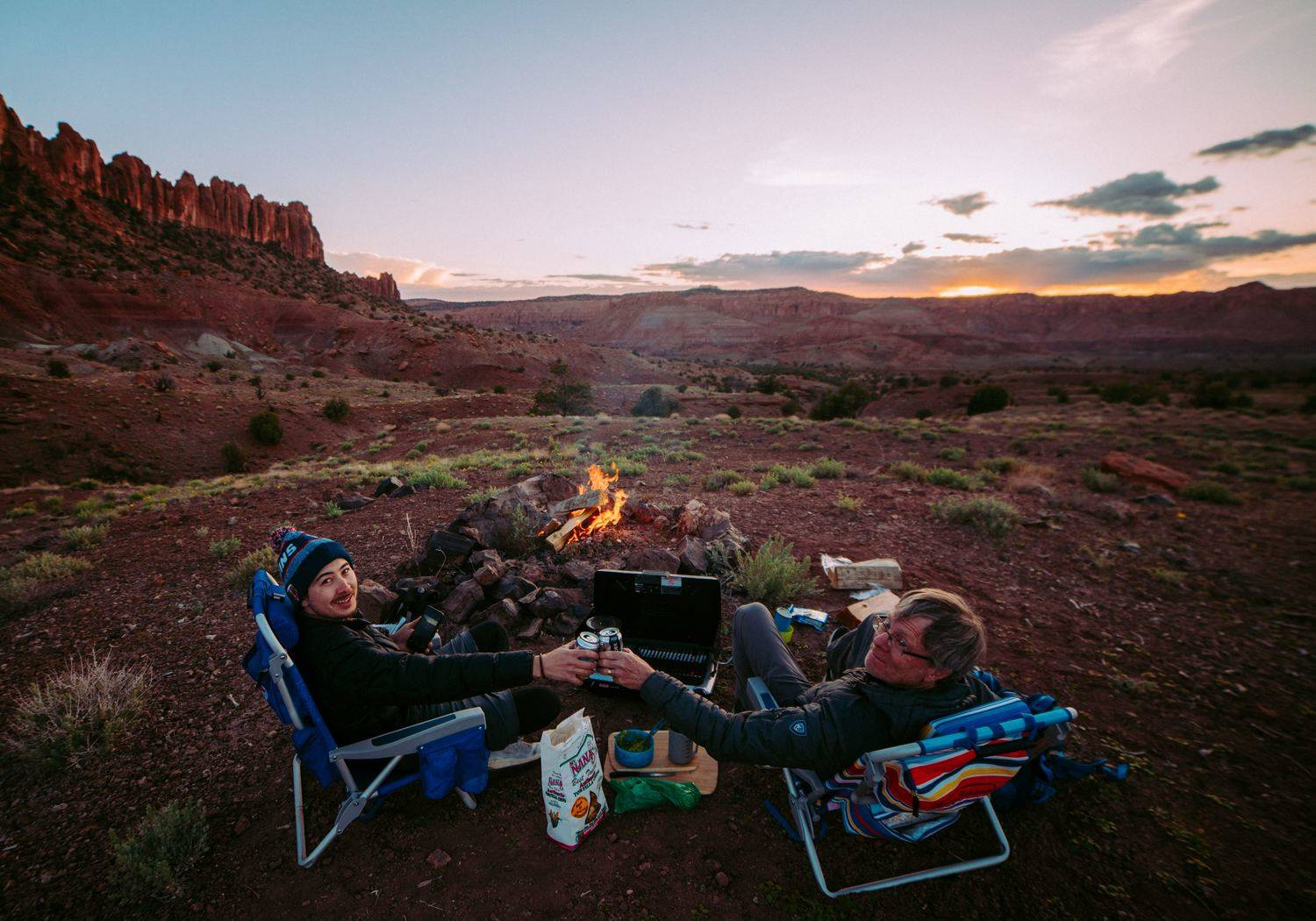 Spending time with friends outdoors is easier when you don't have to convince anyone to sit on the ground.   Photo by Robson Hatsukami Morgan from Unsplash.