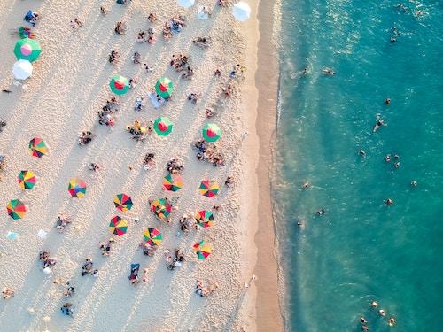 Aerial view of a beach.