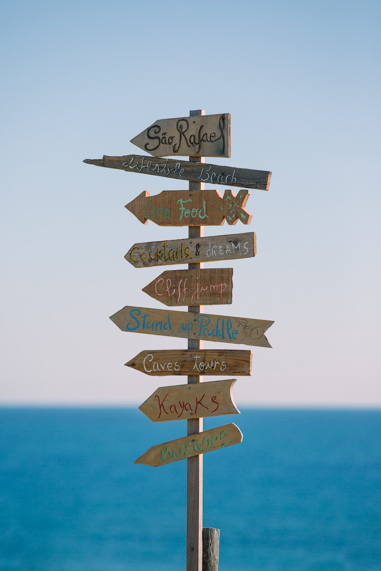 Directional signs with an ocean backdrop.