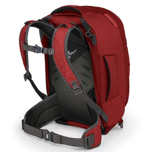 The back view of the Osprey Farpoint travel backpack.