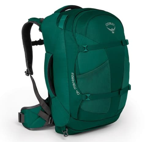 The front view of the Osprey Fairview women's travel backpack.