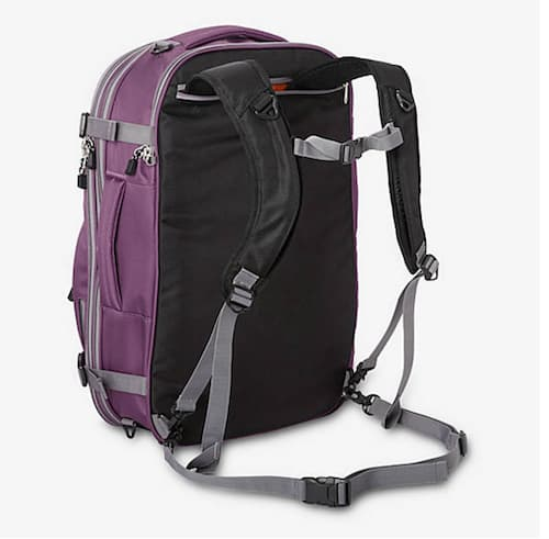 A back view of the eBags Mother Lode Weekender Convertible travel backpack.