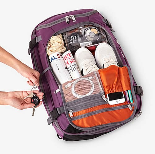 The eBags Mother Lode Weekender Convertible travel backpack, shown here fully packed.