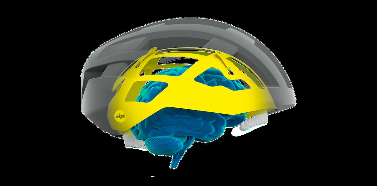 An illustration of the layers of a MIPS helmet.