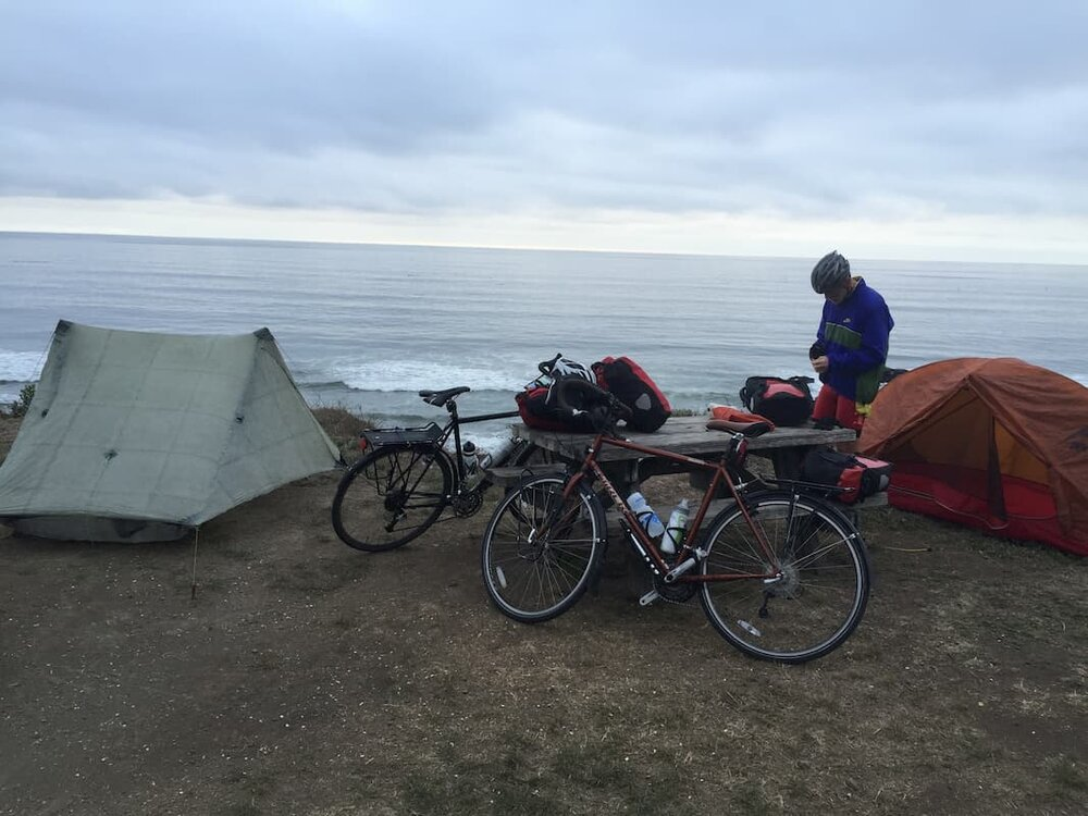 A bikepacker on the Pacific Coast route.     Photo courtesy Mike Unger.