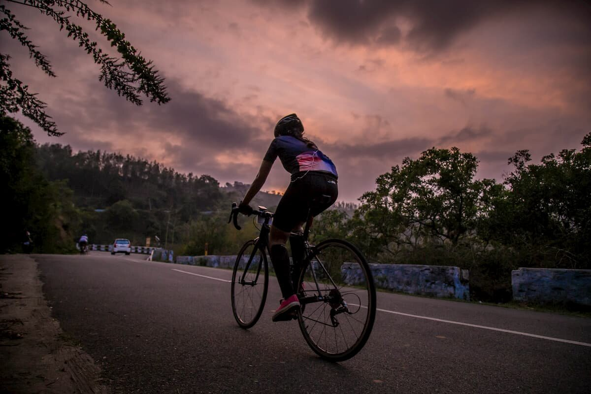 A road biker at sunset.