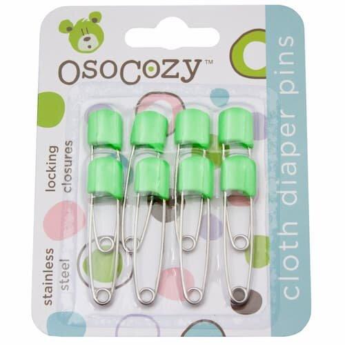 Diaper pins in green