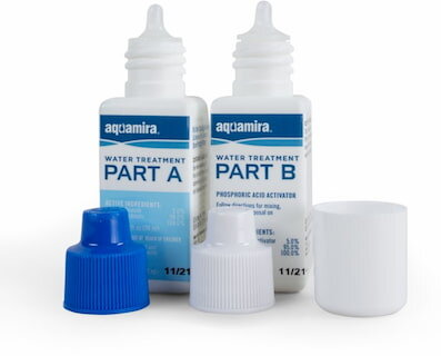 Combine Parts A and B of AquaMira in the field for one of the lightest chemical treatments available.