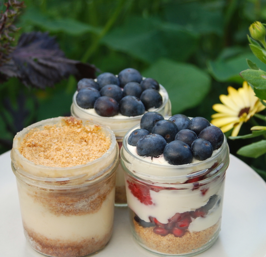 These no bake cheesecakes are super easy to make! Plus putting them in jars means you don't have to wait overnight to eat them!