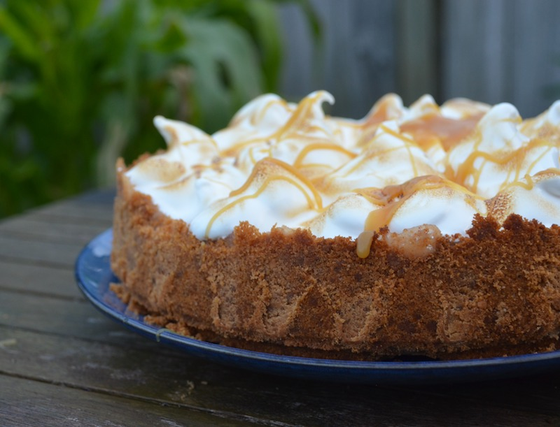 Baked Banana Cheesecake with Toasted Marshmallow Fluff and Nature's Charm Caramel sauce
