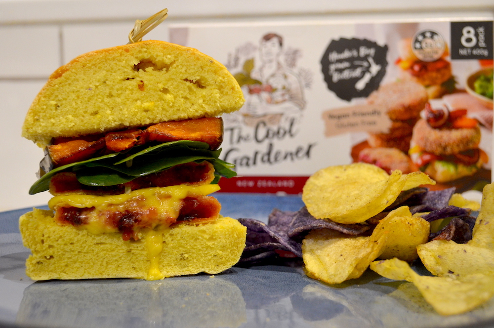 This delicious burger is made using the Cool Gardners new Beetroot and Feta patties - made with Angel Food Dairy-Free Feta!