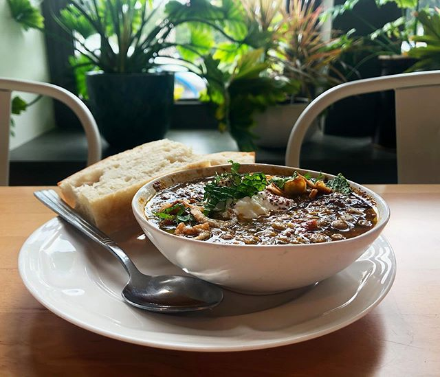 It almost feels like fall out! Break out those flannels and warm up with a bowl of our lentil soup. It's vegetarian (and can be vegan!), filling, and super delicious. . . . #soup #sweaterweather #lentils #lentilsoup #wherenolaeats #nolafood #nola #neworleansfood #neworleans #pythianmarket #afoodhallforall #littlefig #1000figs #nolavegan #foodiegram #eatingforinsta #soupweather #autumn #mediterraneanfood #mediterraneandiet #eater #eaternola #eeeeeats #bestfoodneworleans #lunch #followyournola #forkitover