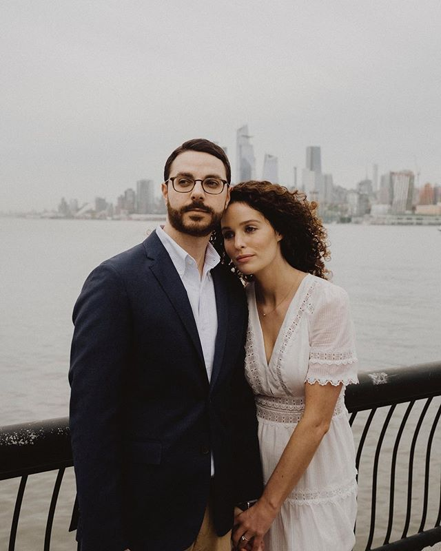 "Self proclaimed ""awkward people"" Matt + Kristina must have been lying to me. For their engagement session these two wanted to hang in Hoboken, NJ and they totally killed it. Just look at how stoic and badass they are?!"